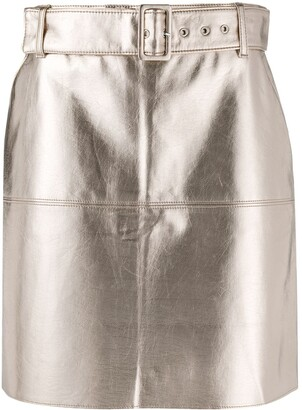 MSGM Belted Metallic Mini Skirt