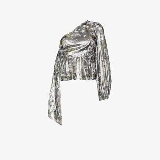 Ganni one shoulder floral print top