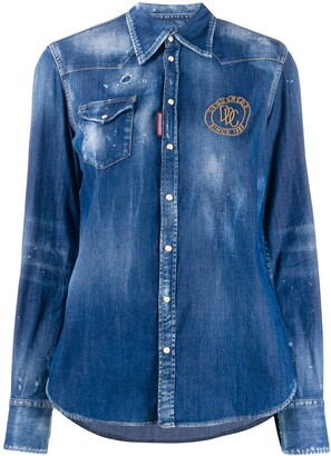 DSQUARED2 Embroidered Logo Denim Shirt