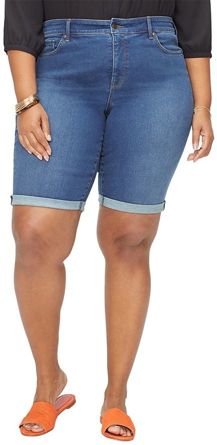 Plus Briella Denim Roll-Cuff Shorts - Cooper