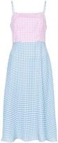 HVN Nora contrast gingham-print silk midi dress