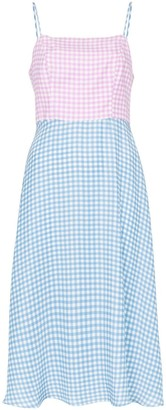 HVN Nora contrast gingham-print silk midi dress
