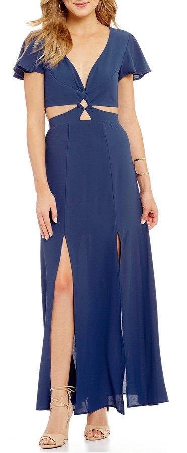 GB Cutout Flutter Sleeve Maxi Dress