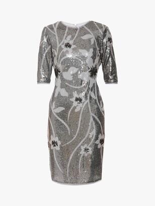Gina Bacconi Joetta Sequin Dress, Silver