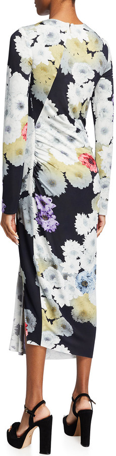Thumbnail for your product : Jason Wu Collection Peony Floral Fluid Jersey Drape Midi Dress