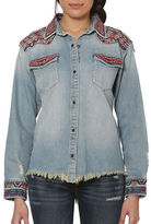 Driftwood Riley Embroidered Frayed Denim Shirt