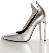 Saint Laurent Metallic Exaggerated-Heel Pump, Silver