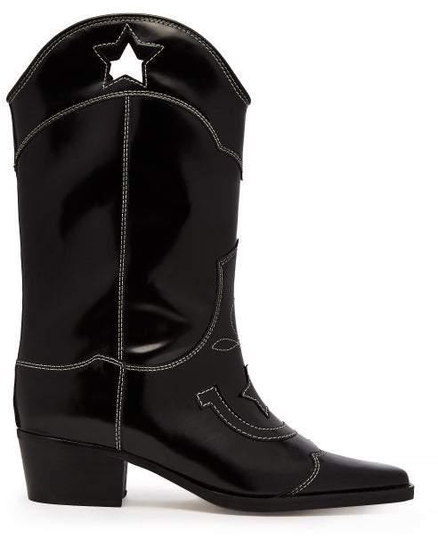 7e5156ebffd Marlyn Western Leather Boots - Womens - Black