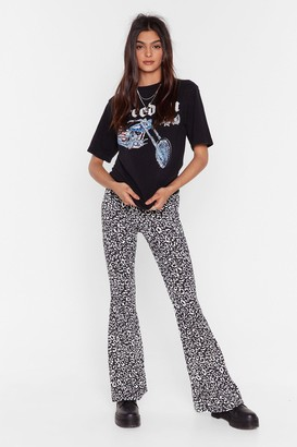 Nasty Gal Womens You Gotta Great Flare Leopard Flare Trousers - Black - 4