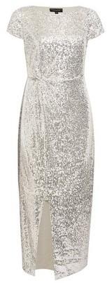 Dorothy Perkins Womens Silver Sequin Twist Midi Dress, Silver