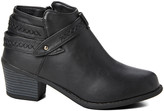 Ameta Women's Casual boots Black - Black Stitched Strap Ankle Bootie - Women