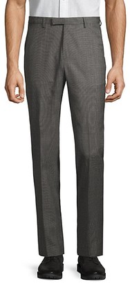 HUGO BOSS Textured Wool Flat-Front Pants