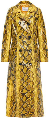 Stand Studio Sasha Double-breasted Faux Snake-effect Leather Trench Coat