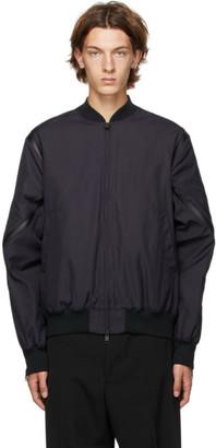 Bottega Veneta Black Nylon Canvas Bomber Jacket