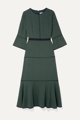 Cefinn Tyler Grosgrain-trimmed Voile Midi Dress - Dark green