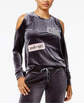 Material Girl Active Juniors' Patches Velour Cold-Shoulder Top, Created for Macy's