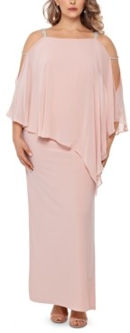 Xscape Evenings Plus Size Embellished Chiffon-Overlay Gown