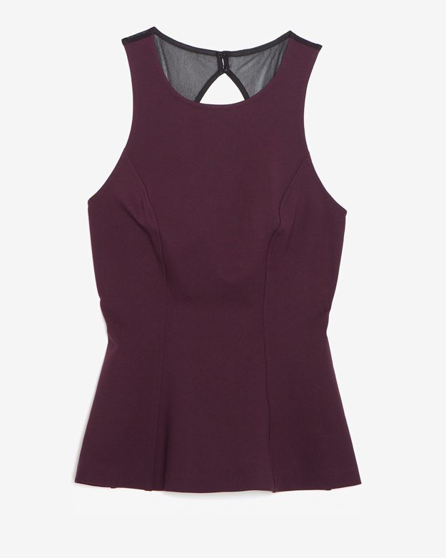Intermix Exclusive For Cut Out Mesh Detail Flare Knit Top