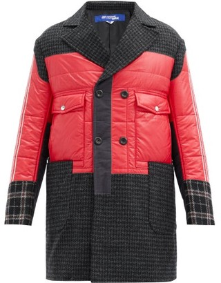 Junya Watanabe Padded-bodice Houndstooth Wool-tweed Coat - Red Multi