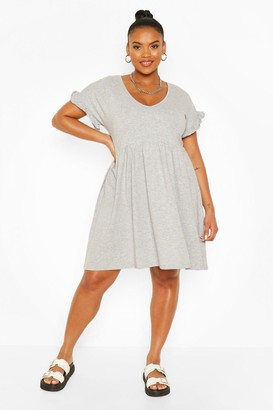 boohoo Plus Ruffle V Neck Smock Dress