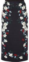Erdem Maira Floral-Print Silk-Satin Midi Skirt