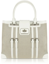 Buti White Patent Leather and Canvas Tote Bag