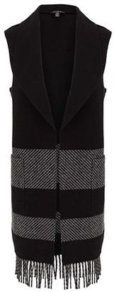 Tribal Tunic Vest with Fringe (Black) Women's Sweater