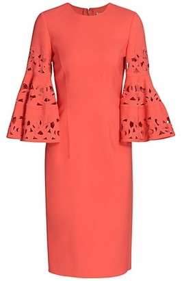 Oscar de la Renta Lasercut Bell-Sleeve Wool-Blend Shift Dress