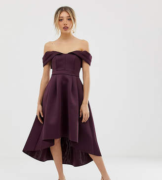Asos Bardot Cold Shoulder Dip Back Midi Prom Dress-Purple