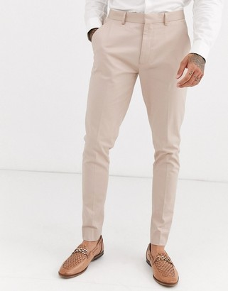 Asos Design DESIGN wedding super skinny suit trousers in stone stretch cotton