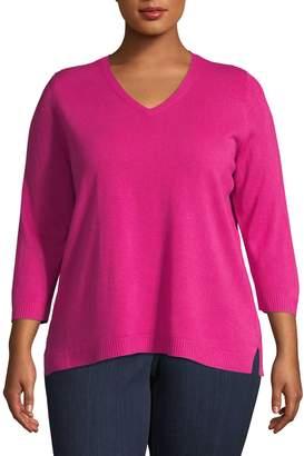 Karen Scott Plus Luxsoft V-Neck Sweater