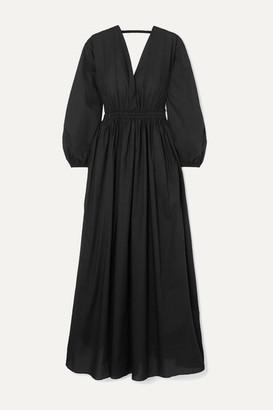 Matteau Open-back Gathered Cotton-poplin Maxi Dress - Black
