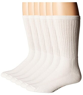 Wigwam Super 60 Crew 6 Pack (White) Crew Cut Socks Shoes
