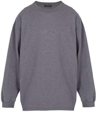 Balenciaga Self Diagram Print Cotton Sweatshirt - Mens - Grey