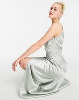 Thumbnail for your product : Little Mistress one shoulder drape maxi satin dress with split in sage green