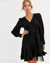 Forever New wrap tie mini dress in black