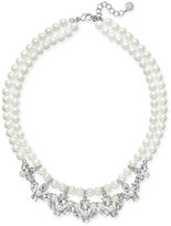 Charter Club Silver-Tone Imitation Pearl Crystal Strand Necklace, Only at Macy's