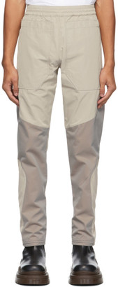 Arnar Már Jónsson Grey and Beige Patch Engineered Track Trousers