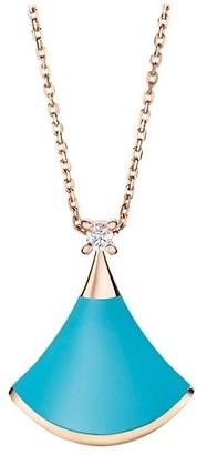 Bvlgari Divas' Dream 18K Rose Gold, Turquoise & Diamond Pendant Necklace