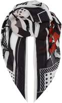 Givenchy Logo Printed Floral Border Scarf, Black, One Size