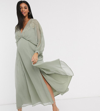Asos DESIGN Maternity embroidered yoke crinkle chiffon maxi dress