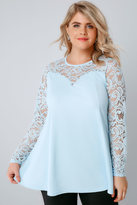 Yours Clothing Powder Blue Peplum Top With Lace Yoke & Sleeves