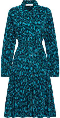 Diane von Furstenberg Dory Belted Printed Stretch-mesh Shirt Dress