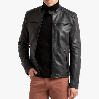 La Redoute Collections Leather Bomber Biker Jacket with Pockets