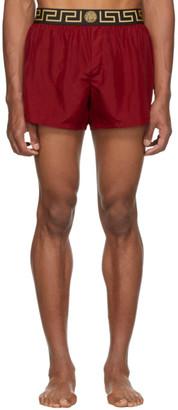 Versace Underwear Red Greek Key Border Swim Shorts