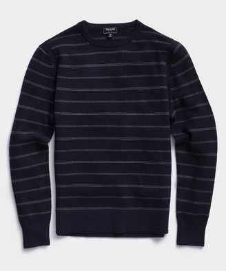 Todd Snyder Italian Merino Waffle Stripe Crewneck Sweater in Navy