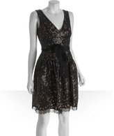 BCBGMAXAZRIA black sequined cotton lace 'Katarina' v-neck party dress