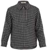 Marni Point-collar Half-zip Checked Wool Top