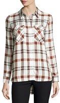 Velvet Heart May Plaid Button-Front Shirt, White
