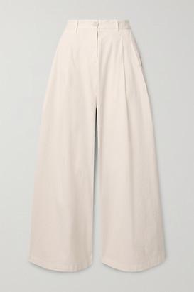 Nili Lotan Marbella Stretch-cotton Twill Wide-leg Pants - Ivory